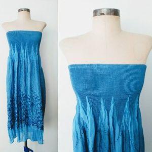 Lapis 2-Toned Floral Strapless Smocked Sun Dress